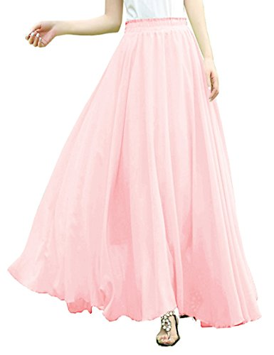 v28 V28Women Full/Ankle Length Elastic Pleated Retro Maxi Chiffon Long Skirt (M, Pink)