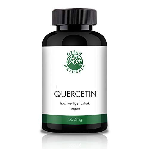 GREEN NATURALS Premium Quercetin - 120 hochdosierte Kapseln á 500mg aus deutscher Herstellung – 100% Vegan & Ohne Zusätze - Vorrat für 4 Monate. Bonus Venen Ratgeber (eBook)