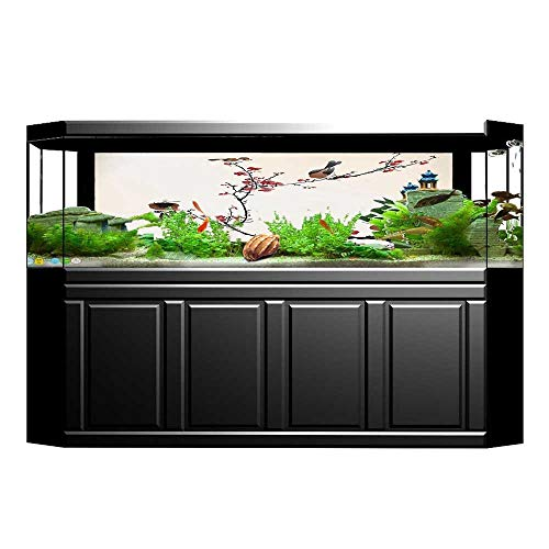 Jiahong Pan Fish Tank Background Decor Static Image Backdrop Wallpaper Sticker Cling Decals Stylized Blooming Cherry Tree Painting Wallpaper Sticker Background Decoration L29.5 x H17.7 ()