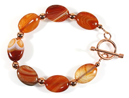 Caramel Agate - Salted Caramel Bracelet of Sienna Dyed Banded Agate Stones, 8 Inches