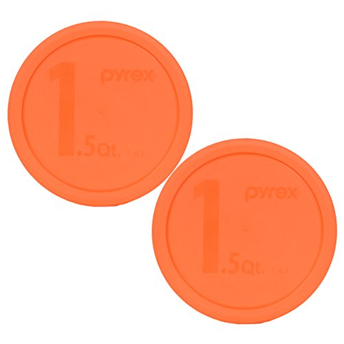 2 Quart Round Storage Container - Pyrex 323-PC 1.5qt Round Orange Storage Lid for Glass Bowl (2 Pack)