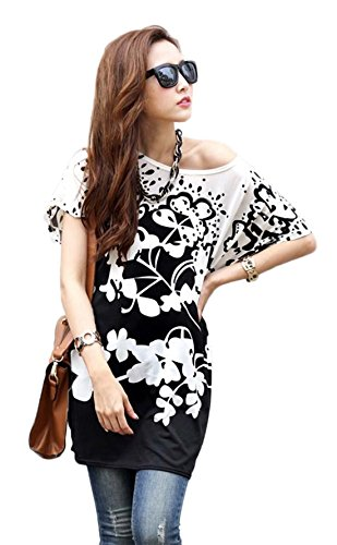 Women Batwing Sleeve Flower Blouse product image