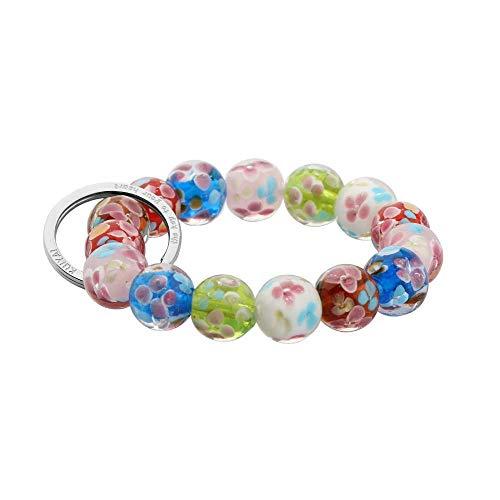 Murano Chain Bracelet - KUIYAI Elastic Functional Beaded Wrist Keychain Bracelet Handsfree Keychain Gift for Her (Murano Glass)