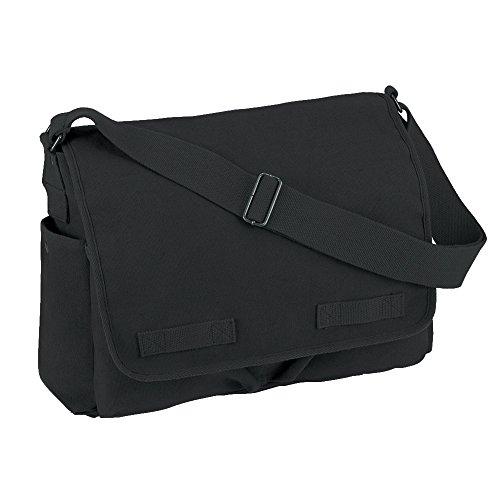 Vintage Style Unwashed Canvas Messenger Bag Black