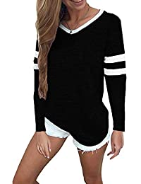 Women's Striped Tops Casual V Neck Baseball Tee Shirt Long Sleeve Casual Blouse Color Block Tunic Tops