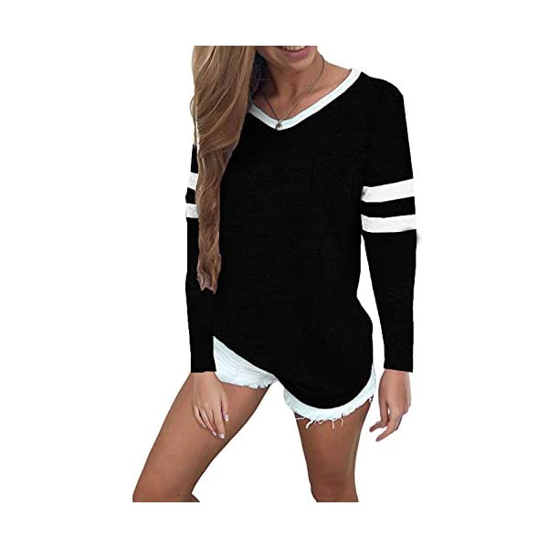 Sweetnight Women's Striped Tops Casual V Neck Baseball Tee Shirts Short/Long Sleeve Casual Blouse Color Block Tunic Tops