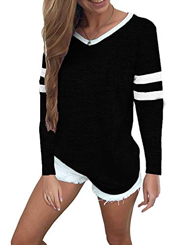 (Sweetnight Women's Casual V Neck Raglan Long Sleeve Shirts Fashion Blouses Baseball Tshirts Top (Black, XL))