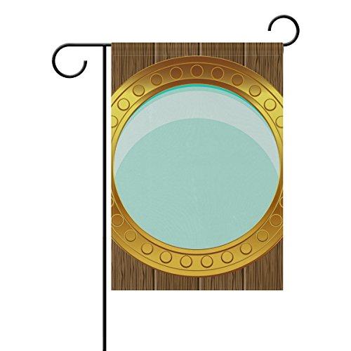 """LEISISI Porthole On Wood Garden flag 28""""X40"""" Two Sided Yard"""