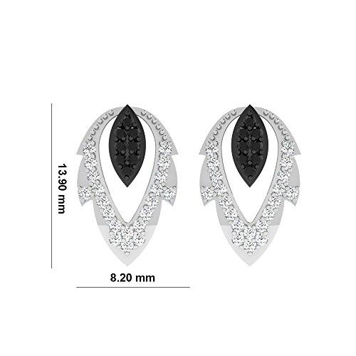 Libertini Boucle d'oreille argent 925 serti de Diamant en forme de Feuille