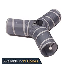 Prosper Pet Cat Tunnel - Collapsible 3 Way Play Toy - Tube Fun for Rabbits, Kittens, and Dogs - Grey