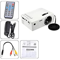 1080P HD LED Home MulitMedia Theater Cinema USB TV VGA SD HDMI Mini Projector,Optional 7.4V 1000mAh Li-ion Battery ( Not Included),Tuscom (White)