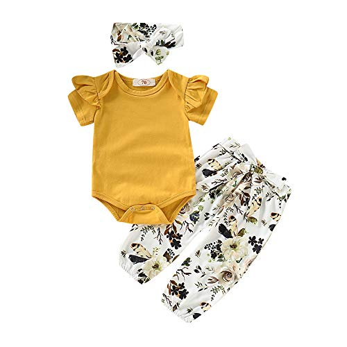 - 3PC Outfit Clothes Set Toddler Baby Girl Ruffle Sleeve Bodysuit Romper+Floral Print Knee Bowknot Pants+Headband Summer (18-24 Months,Yellow)