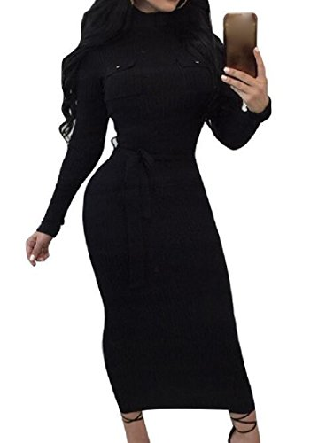 Solido Comodi Fit Vestito Girocollo Nero Donne Bodycon Strappy 0canFHx