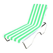 "Terry Cotton Stripe Beach Lounge Chair Towel With Fitted Pocket Top, 26x82"", Soft Absorbent and Dry Fast for Swimming Pool, Beach and Spa-Green"