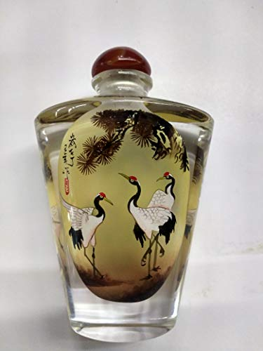 (2019 hot Gift Beautiful Creative Inside Painted Snuff Bottles with Spoon Chinese Gifts Chinese Style Traditional Hand-Painted Home Decoration(red Crowned Crane)Memorial Ashes container )