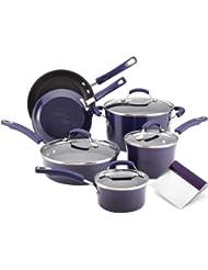 Rachael Ray Purple Porcelain Enamel 10 Piece Starter Cookware Set with Free Bench Scrape Shovel Tool