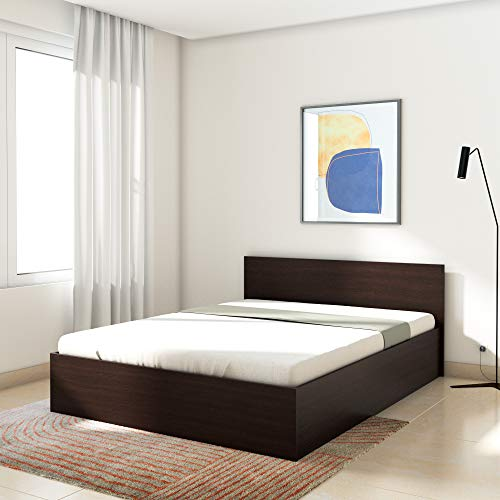 Amazon Brand   Solimo Medusa Engineered Wood Queen Bed with Box Storage  Wenge finish