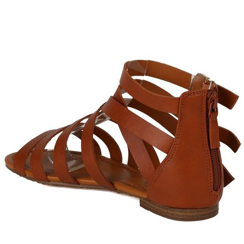 Breckelles Womens Strappy Flat Sandals Tan dkHzZ9F