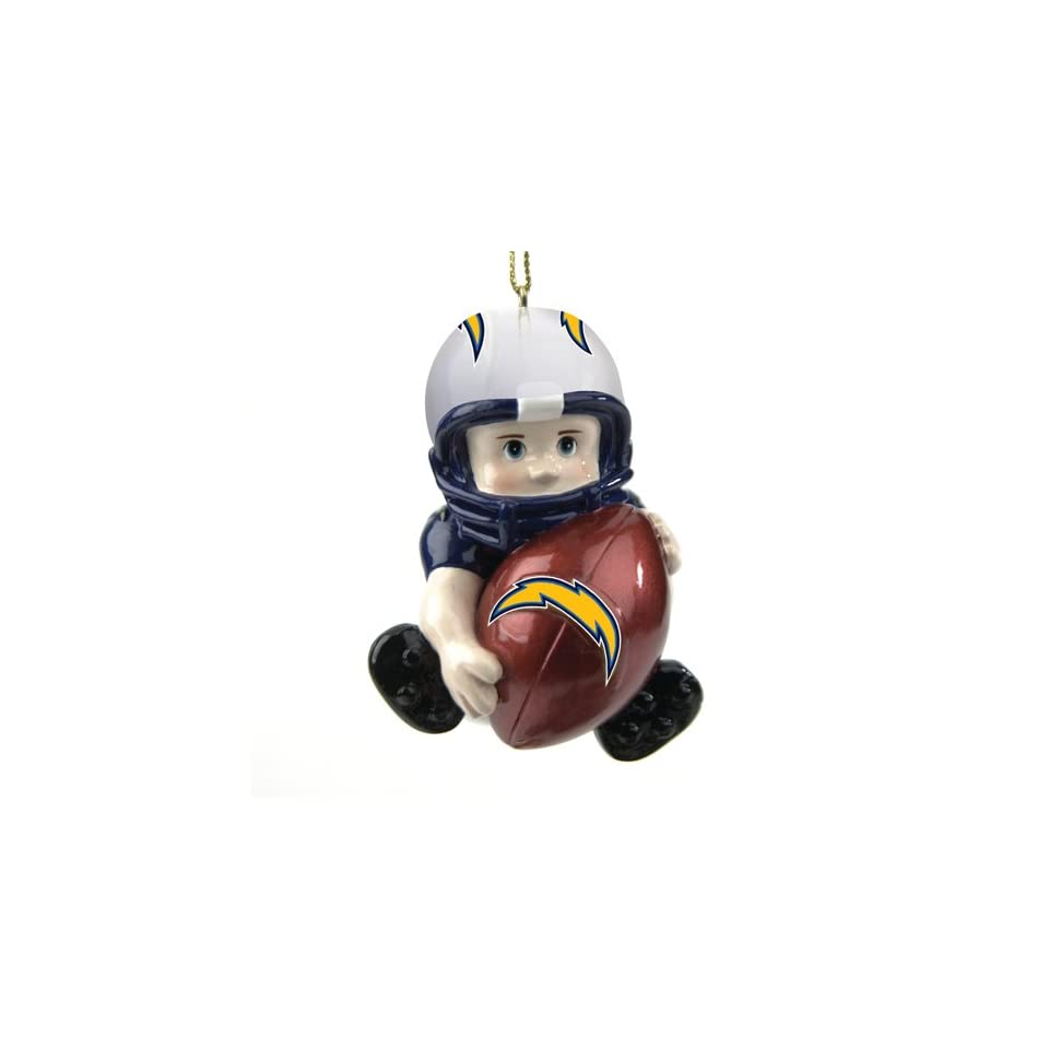 Pack of 3 NFL San Diego Chargers Little Guy Football Player Christmas Ornaments