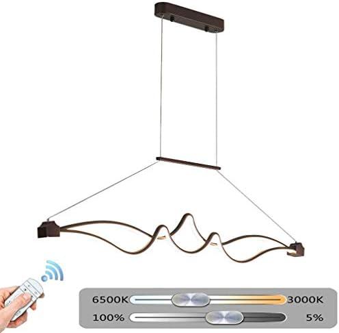 LED de techo curva de la onda de luz, la lámpara con control remoto de la sala Lámpara colgante Lámpara de aluminio Lámpara Comedor Cocina Salón Lámpara Lavar los accesorios del techo