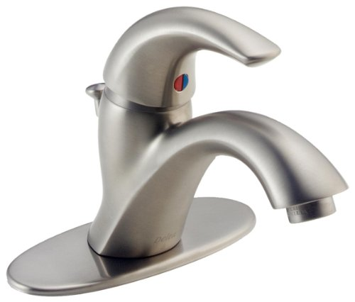 Delta Faucet Classic Single-Handle Bathroom Faucet with Drain Assembly, Stainless 583LF-SSWF Classic Stainless Single Handle