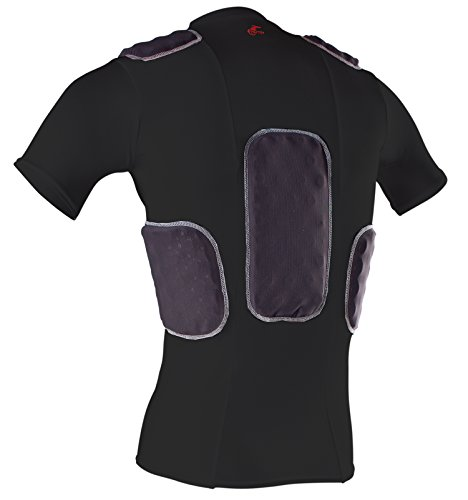 Cramer Lightning 5 Pad Football Shirt With Integrated Rib, Spine and Clavicle Pads, Football Padded Compression Shirt, Rib Protector Shirt, Padded Basketball Shirt, Protective Gear, Black, Medium