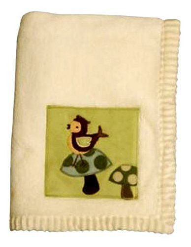 - Lambs and Ivy Enchanted Forest Plush Blanket, Cream with Green Inset