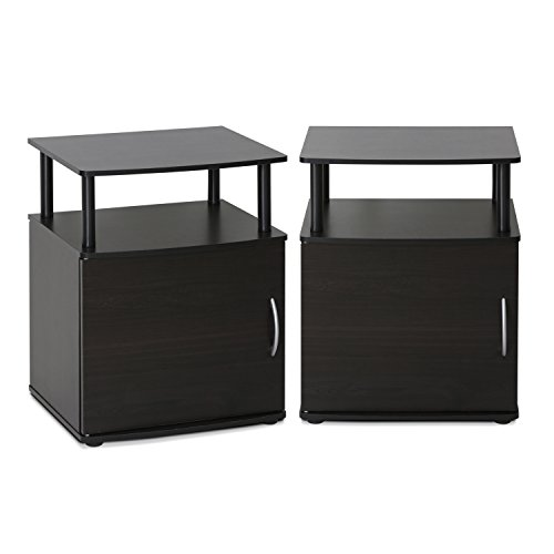 Furinno 2-15114BKW End Table, Two, Black Wood (Set Clearance Bedroom)
