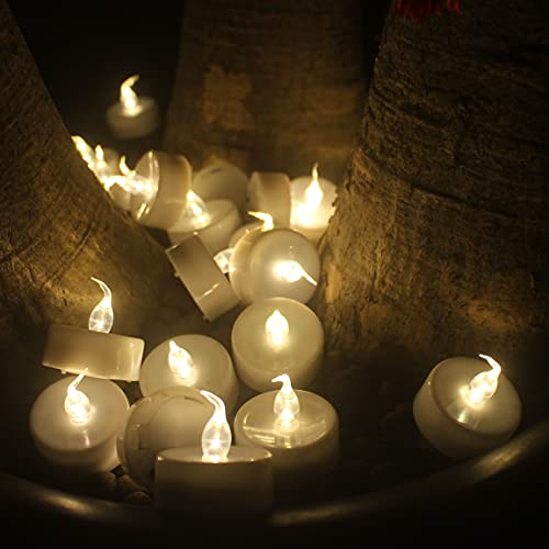 Wilrigir Flameless Candle Remote Control LED Tea Light Warm White Flickering Bulb Battery Operated LED Votive Candle Realistic and Bright Faux Tea Lights for Season & Festival Celebration Pack of 12