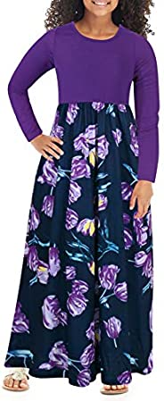 GORLYA Girl's Short Sleeve Patchwork Floral Print Loose Casual Long Maxi Dress with Pockets for 4-12 Years