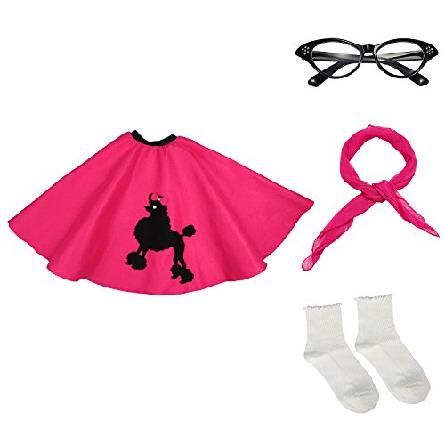 50s Girls Costume Accessory Set - Poodle Skirt, Chiffon Scarf, Cat Eye Glasses,Bobby Socks,Hot (50s Pink Sock)