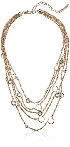 Kenneth Cole Teal & Crystal Circle Illusion Necklace, Teal, One Size