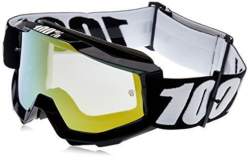 100% ACCURI Goggles Black Tornado - Mirror Gold Lens, One Size by 100%