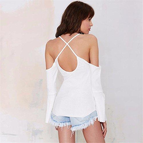 Retro Femmes Coton Encolure Backless Slim Vest Top Blouse T-shirt XS-XXL