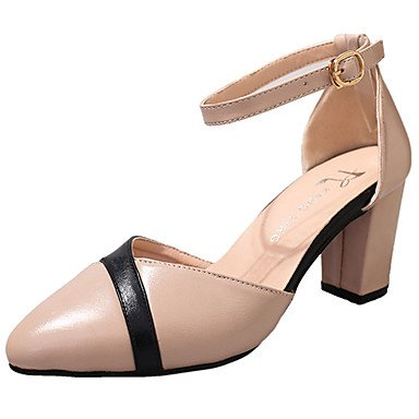 LvYuan GGX Damen High Heels Komfort Leuchtende Sohlen PU Sommer Komfort Kleid Komfort Sommer Leuchtende Sohlen Schnalle Block Ferse Schwarz Beige 5-7 cm beige 3e8821