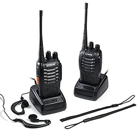 GoTalkie Two-Way Radios – 400-470MHz CTCSS/DCS Walkie Talkies – 2 FM Transceivers with Batteries, Chargers, Antennas, Belt Clips, Hand Straps & Earpieces – Great for Adults & Kids