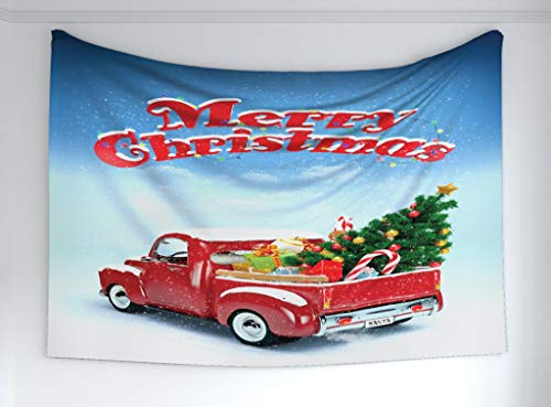 Ambesonne Christmas Tapestry, Pickup Truck Filed with Ornament Cold December Weather Snowflakes Merry Christmas, Fabric Wall Hanging Decor for Bedroom Living Room Dorm, 60 W X 40 L Inches, Multicolor ()