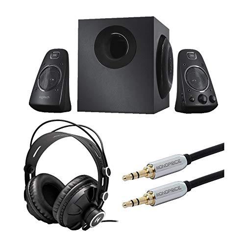 LOGITECH Z623 400 와트 홈 스피커 시스템 번들(KNOX GEAR 헤드폰 및 오디오 케이블 포함)(3 항목)
