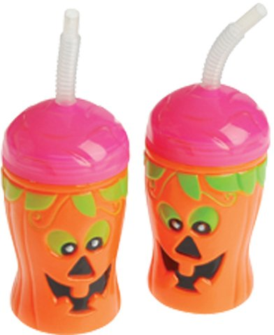 Halloween Theme Pumpkin Jack-O-Lantern Sippy Sipper Cup With Straw