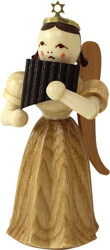 Ángel falda larga plisada con flauta de pan, natural - 6,6cm / 2,5 ...
