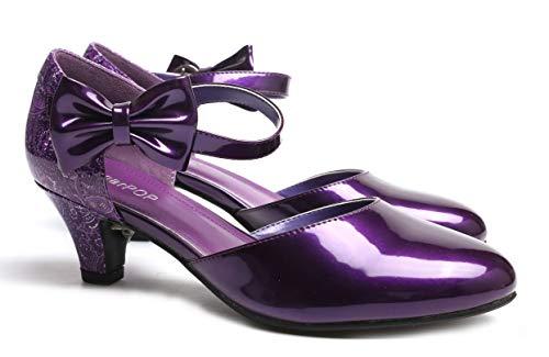 SugarPOP Reign Women's Retro Pump with Kitten Heel, Size 13 M US Purple -