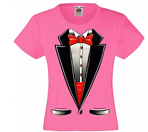 ds Tuxedo with Bow Tie T-Shirt Funny Shirts (Medium (10-12), Pink) ()