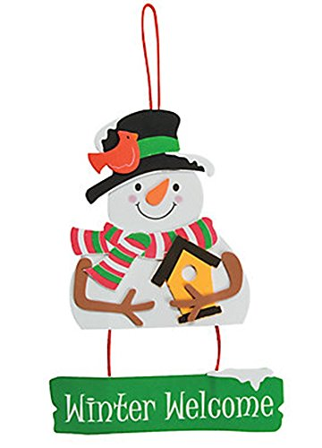 Set of 12 Foam Happy Snowman Winter Welcome