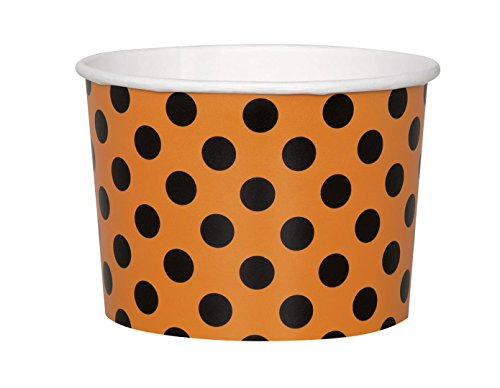 (9oz Orange & Black Polka Dot Halloween Paper Ice Cream Cups,)