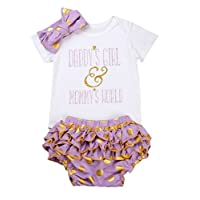 Newborn Baby Girls Clothes Rompers+Ruffel Pants Shorts+Headband 3PCS Outfits ...