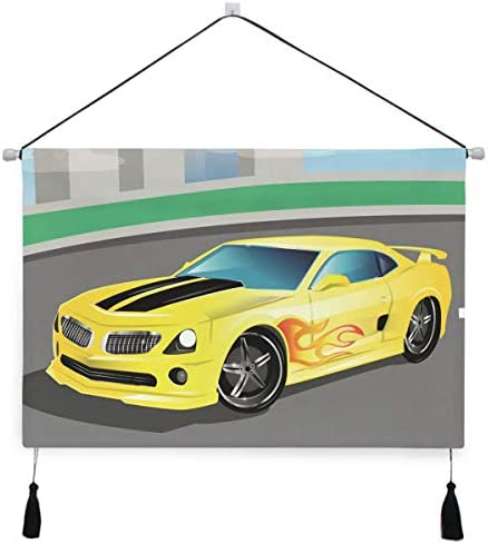 黄色のアートカーぶら下げ絵画 壁アート 吊りキャンバス 印刷 絵画 アートワーク 写真 ホーム用