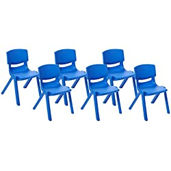 ECR4Kids School Stack Resin Chair, Indoor/Outdoor Plastic Stacking Chairs for Kids, 10 inch Seat Height, Blue (6-Pack)