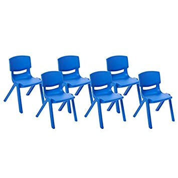 ECR4Kids School Stack Resin Chair, Indoor Outdoor Plastic Stacking Chairs for Kids, 14 inch Seat Height, Blue 6-Pack