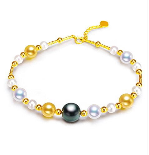 GOWE 18K Gold Bracelet Multi color Tahitian Japan Akoya and Freshwater Pearls Bracelet