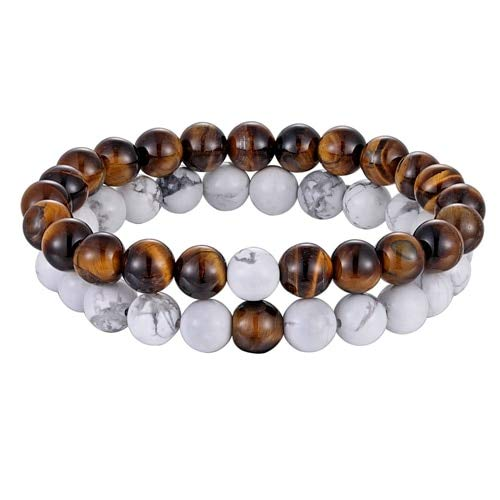 Zozu Hot 2pcs/set 7 Style Couples Distance Bracelet Natural Stone Yoga Beaded Bracelet for Men Women Friend Gift Charm Strand Jewelry (White Tiger Eyes)